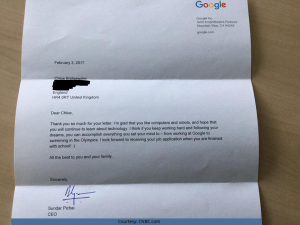 Reply From Sundar Pichai To Chloe-Bridgewater