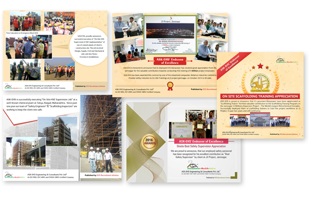 Achievements of Safety Professionals from ASK-EHS Engineering & Consultants Pvt. Ltd.